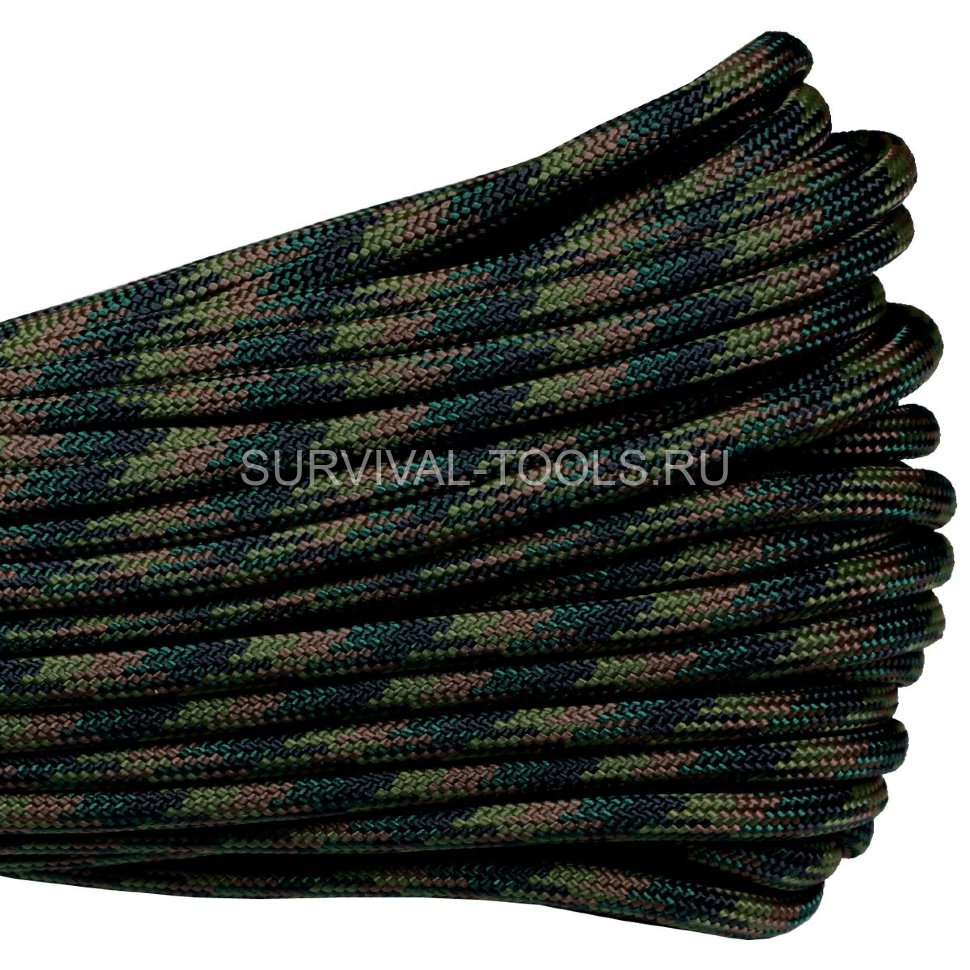Паракорд ATWood Rope Paracord 550 type III Woodland 30м, США