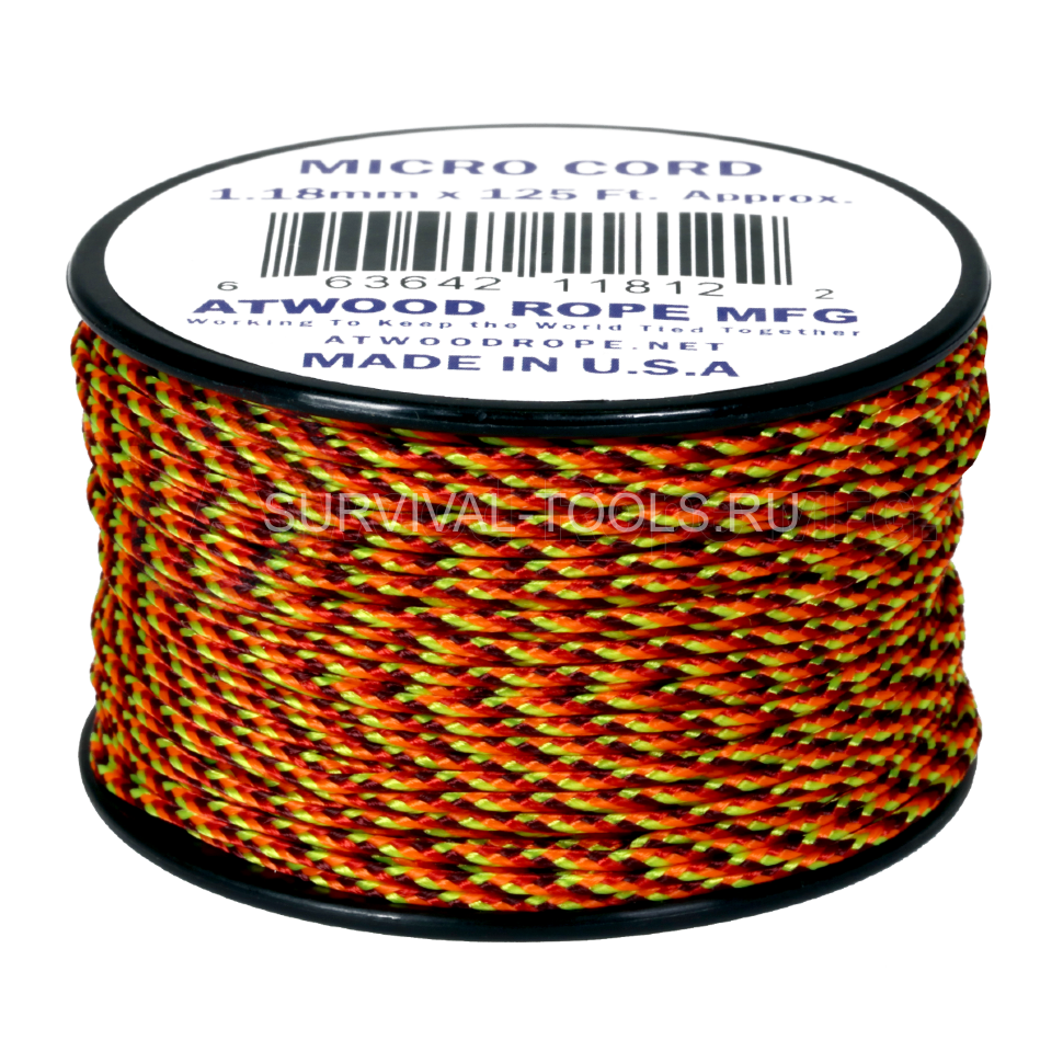 Микро корд ATWood Rope MFG Micro Cord 1.18mm 125ft (38м), Fireball