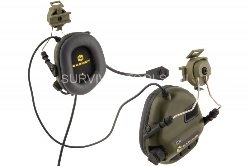 Наушники активные EArmor M32H MOD1 Electronic Communication Hearing Protector for FAST MT Helmets олива (Foliage green)